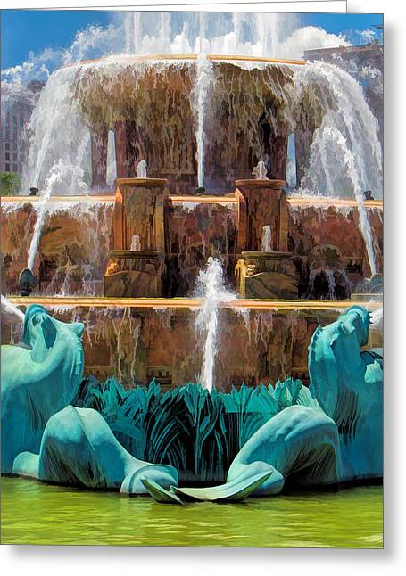 Buckingham Fountain Closeup Greeting Card by Christopher Arndt