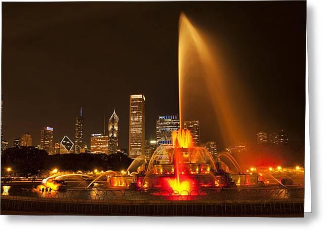 Buckingham Fountain Panorama Greeting Card by Andrew Soundarajan
