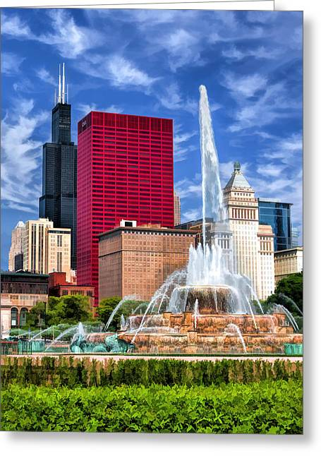 Chicago Buckingham Fountain Sears Tower Greeting Card