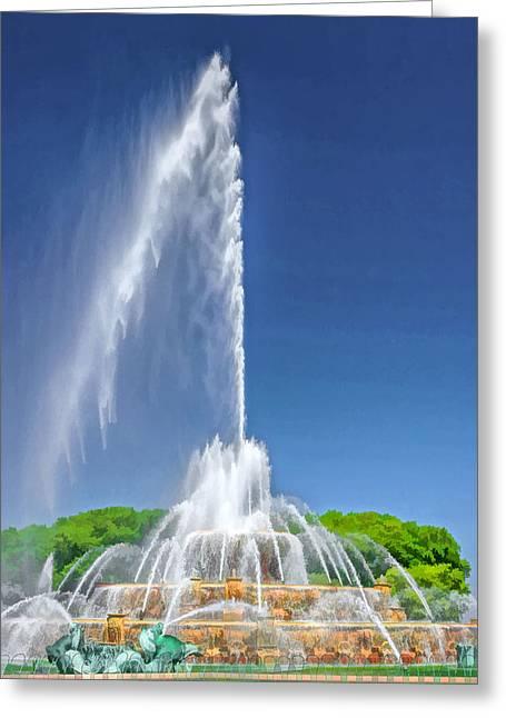 Buckingham Fountain Spray Greeting Card by Christopher Arndt