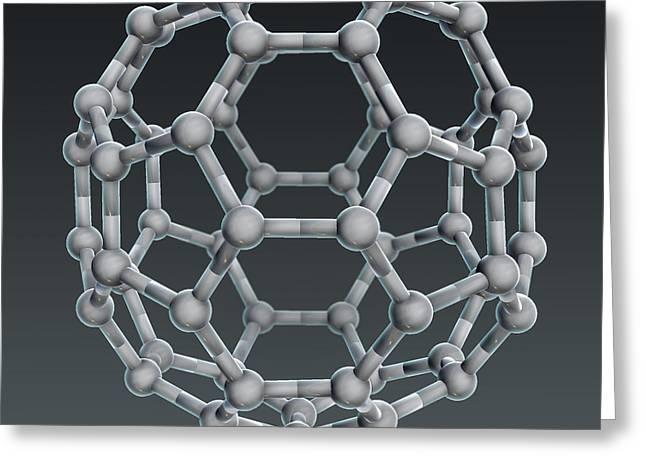Buckminsterfullerene Molecular Model Greeting Card by Evan Oto