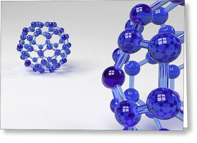 Buckminsterfullerene Molecule Greeting Card by Science Photo Library