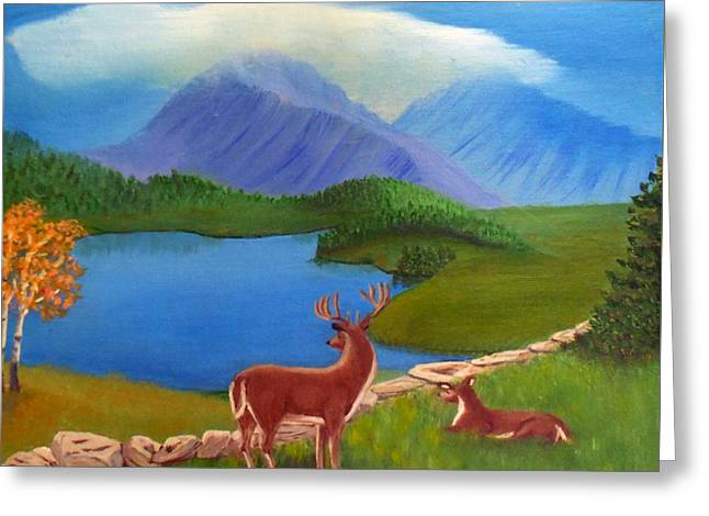 Buck's Domain Greeting Card by Sheri Keith