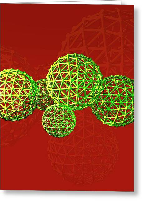 Buckyball Molecules Greeting Card by Victor Habbick Visions