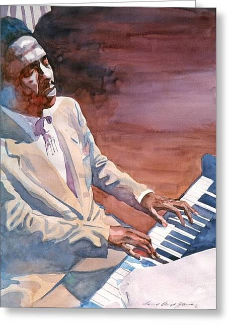 Bud Powell - Paris Blue Greeting Card by David Lloyd Glover
