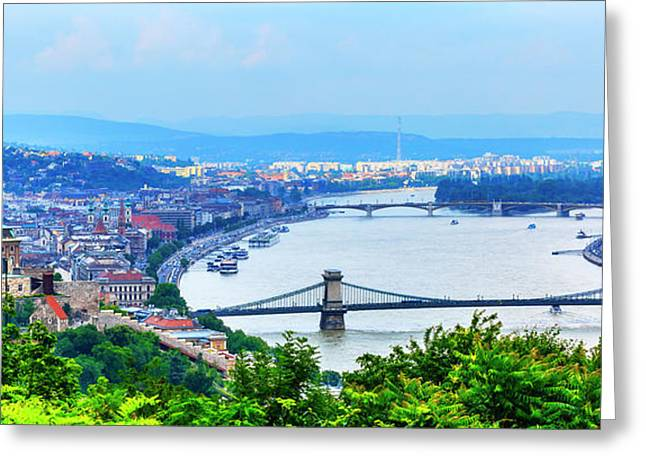 Buda Palace, Parliament Chain Bridge Greeting Card