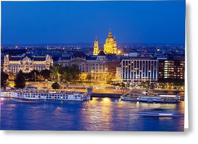 Budapest At Night Greeting Card by Artur Bogacki
