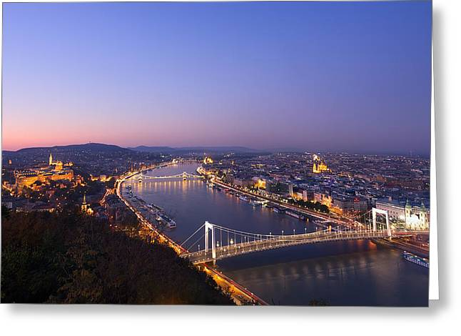 Budapest At Night Greeting Card by Ioan Panaite