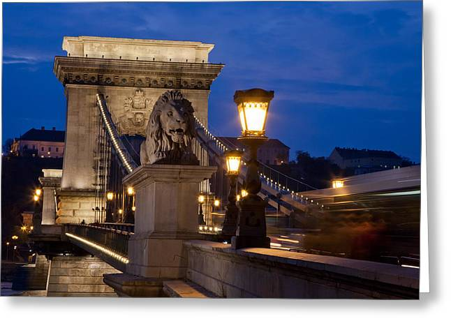 Budapest Bridge With Lion Greeting Card