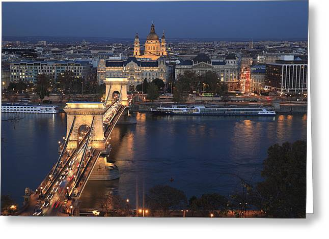 Budapest Chain Bridge At Night Greeting Card by Norman Pogson