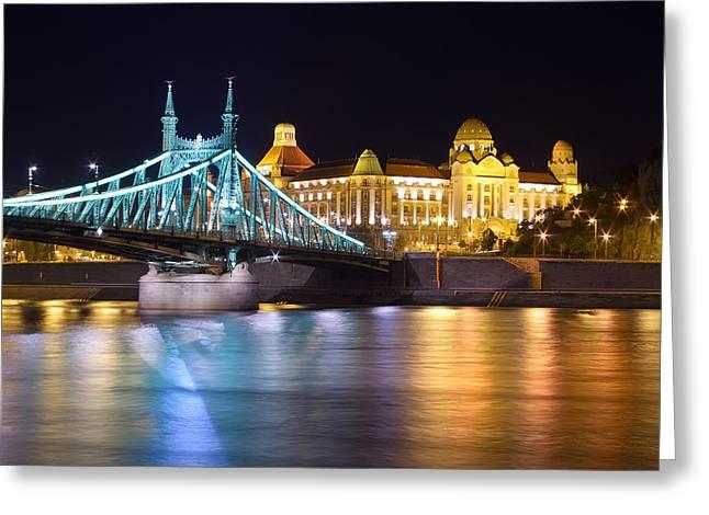 Budapest Night Bridge Greeting Card by Ioan Panaite