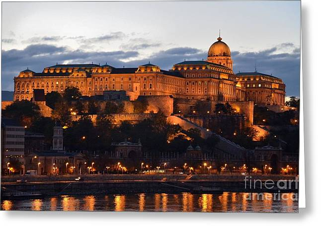 Budapest Palace At Night Hungary Greeting Card by Imran Ahmed