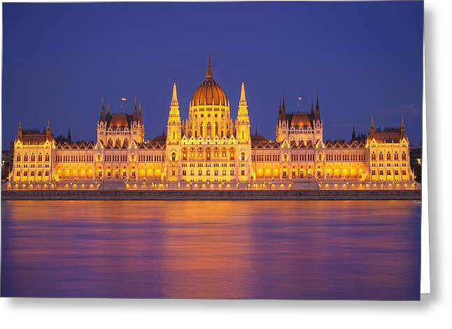 Budapest Parliament At Night Greeting Card by Ioan Panaite