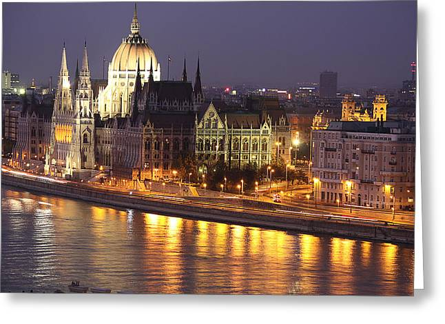Budapest Parliament Buildings Greeting Card by Shirley Mitchell