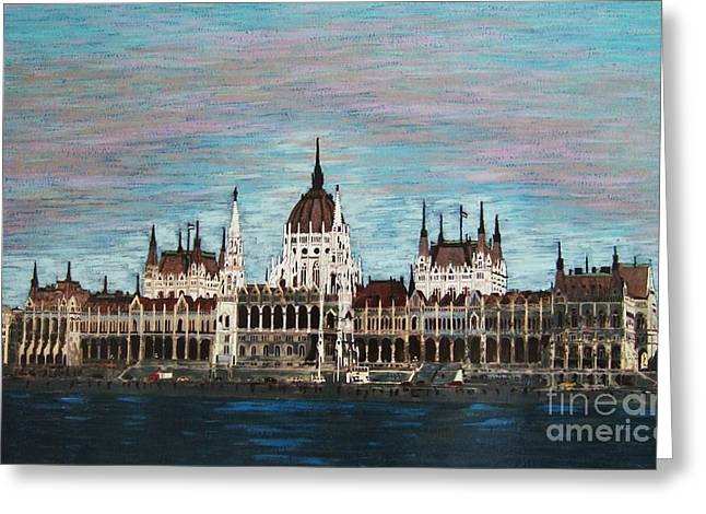 Budapest Parliament By Jasna Gopic Greeting Card by Jasna Gopic