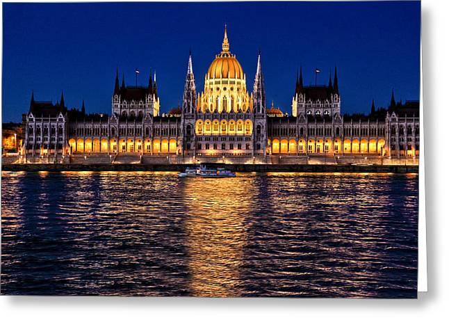 Greeting Card featuring the photograph Budapest-the Parliament At Night by Nick Mares
