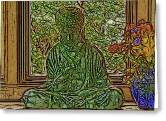 Buddha In Window With Blue Vase Greeting Card