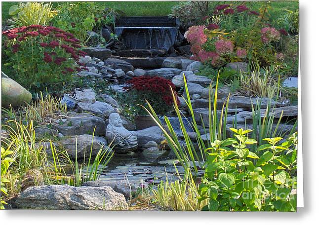 Greeting Card featuring the photograph Buddha Water Pond by Brenda Brown