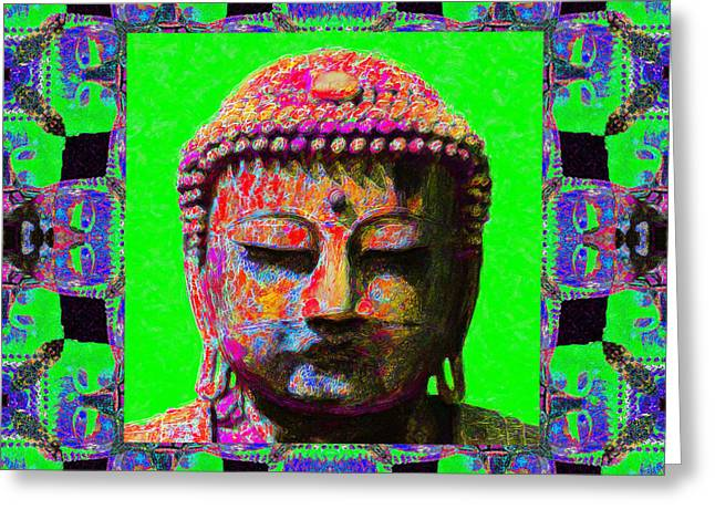 Buddha Abstract Window 20130130m180 Greeting Card by Wingsdomain Art and Photography