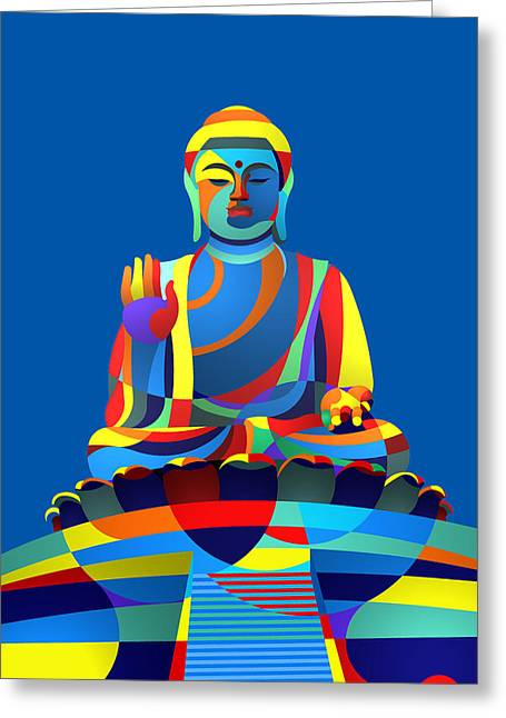 Buddha Blue Greeting Card