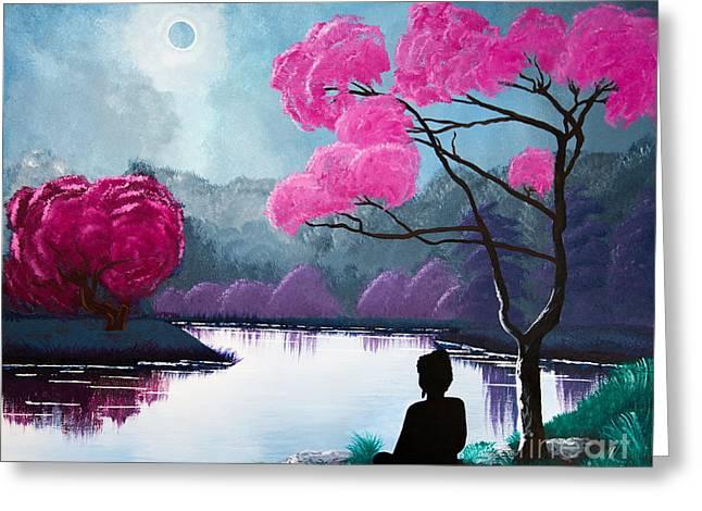 Buddha By The Lake Greeting Card