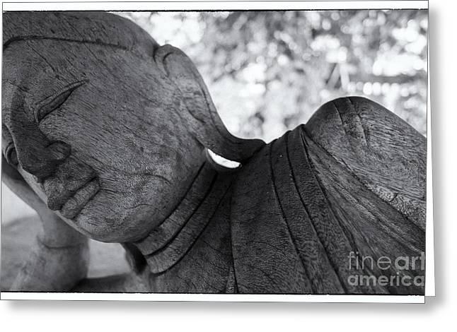 Buddha Face Greeting Card by Setsiri Silapasuwanchai