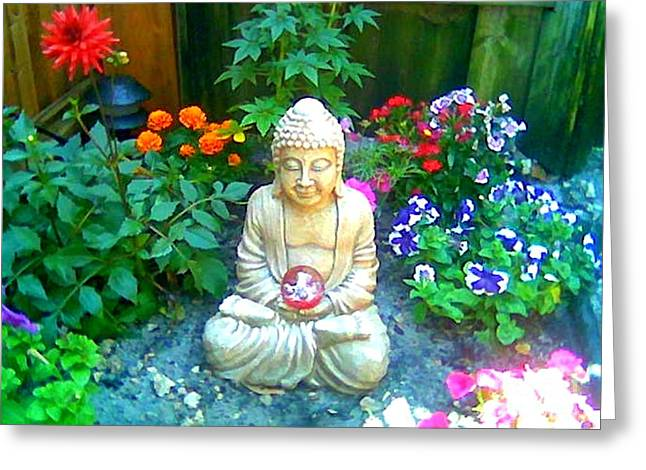 Greeting Card featuring the photograph Backyard Buddha by Steed Edwards