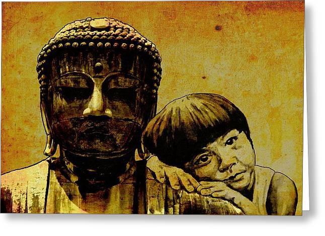 Buddha Girl Greeting Card by Richard Tito