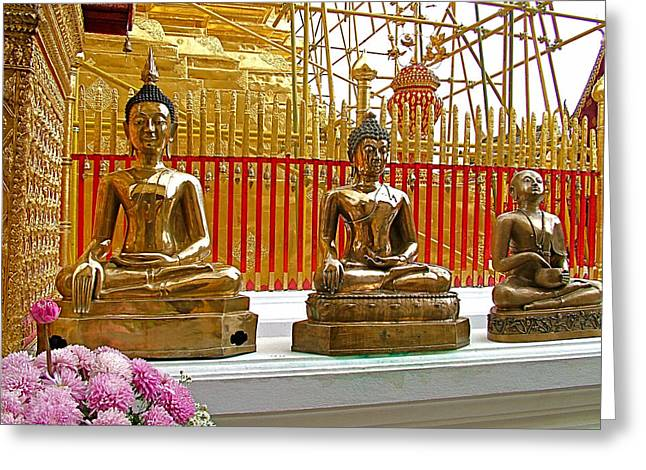 Buddha Images At Wat Phrathat Doi Sutep In Chiang Mai-thailand Greeting Card by Ruth Hager