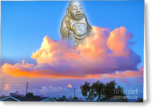Greeting Card featuring the painting Buddha In The Clouds Of Suburbia by Gregory Dyer