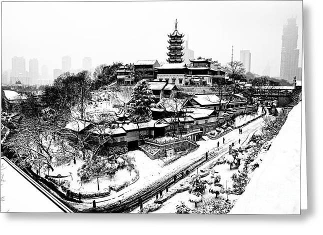 Buddha - Jiming Temple In The Snow - Black-and-white Version  Greeting Card