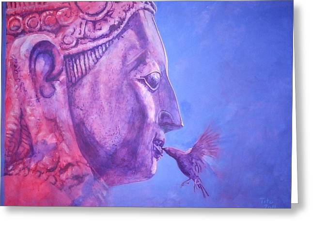 Buddha Kiss Greeting Card by Richard Tito