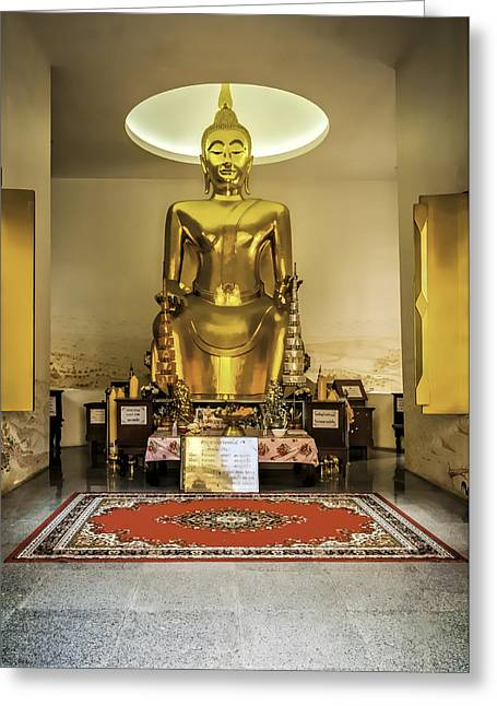 Gold Buddha Greeting Card by Maria Coulson
