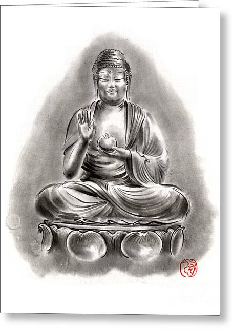 Buddha Medicine Buddhist Sumi-e Tibetan Calligraphy Original Ink Painting Artwork Greeting Card by Mariusz Szmerdt