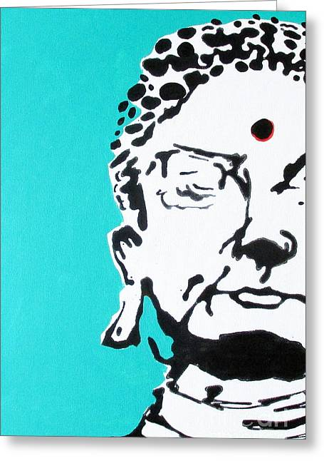 Greeting Card featuring the painting Buddha by Nicole Gaitan