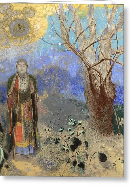 Buddha Greeting Card by Odilon Redon