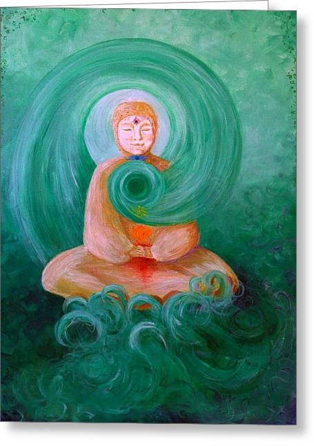 Buddha Painting Greeting Card by Avril Whitney
