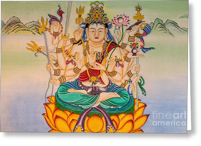 Buddha Painting On The Wall Greeting Card