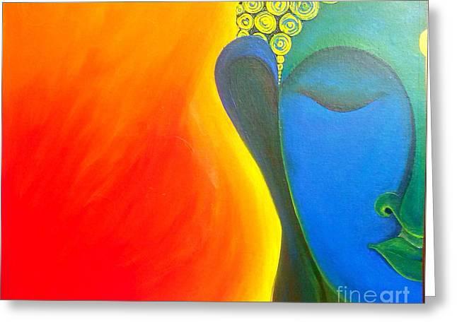 Buddha Painting Greeting Card by Rekha Artz