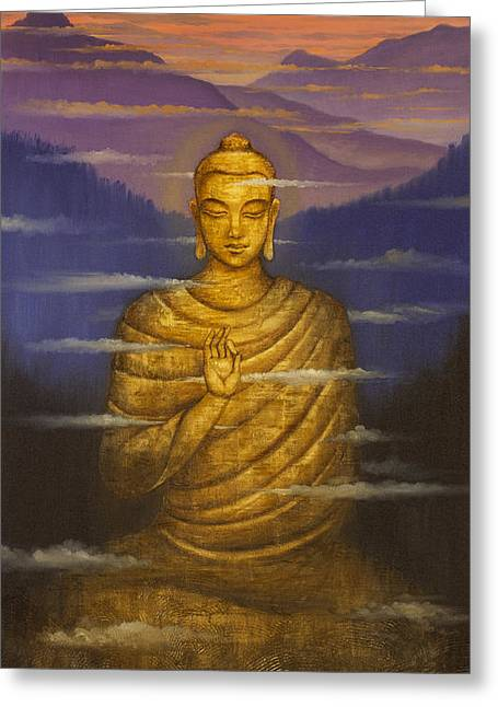 Buddha. Passing Clouds Greeting Card by Vrindavan Das