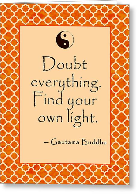 Buddha Quote Poster In Sunrise Colors Doubt Everything Greeting Card