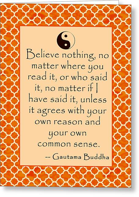 Buddha Quote Poster In Sunrise Colors Greeting Card