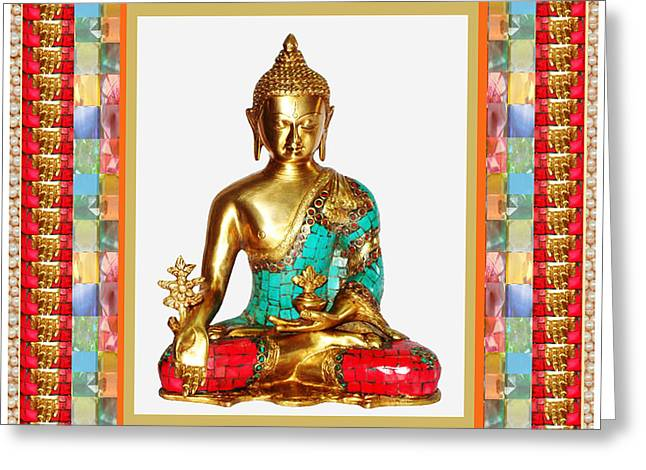 Buddha Sparkle Bronze Painted N Jewel Border Deco Navinjoshi  Rights Managed Images Graphic Design I Greeting Card by Navin Joshi