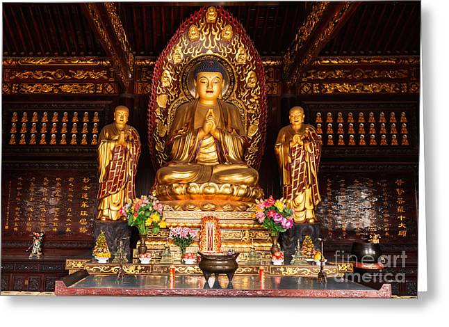 Buddha Statue And Relics At Giant Wild Goose Pagoda In Xi'an Greeting Card by Oleksiy Maksymenko