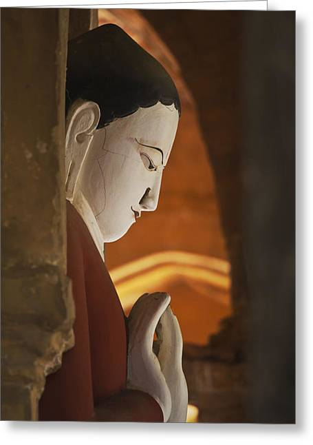 Buddha Statue Bagan Myanmar Greeting Card by Craig Lovell