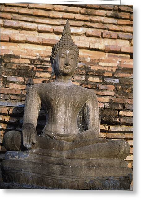 Buddha Statue Outside Thai Temple Greeting Card by Richard Berry