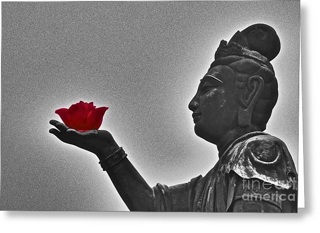 Greeting Card featuring the photograph Buddha With Rose  by Sarah Mullin