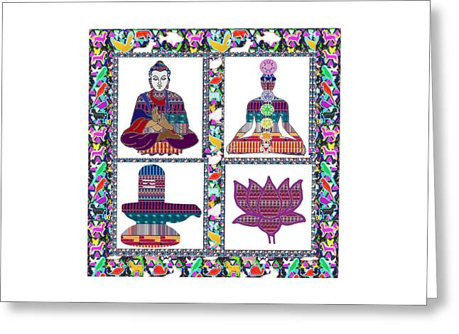 Buddha Yoga Chakra Lotus Shivalinga Meditation Navin Joshi Rights Managed Images Graphic Design Is A Greeting Card by Navin Joshi