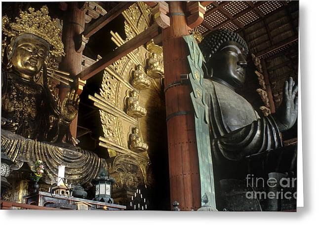 Buddhas At Todaiji Temple Nara Japan Greeting Card by Craig Lovell