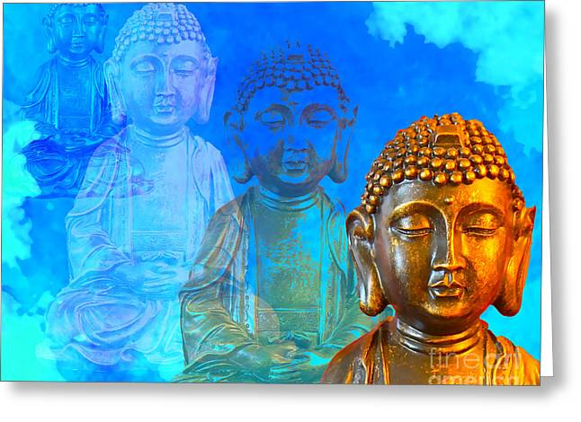 Greeting Card featuring the sculpture Buddha's Thoughts by Ginny Gaura